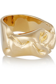 Bow gold-plated ring