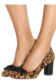 Flora bow-embellished leopard-print calf hair pumps