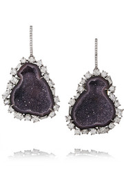 18-karat blackened white gold, diamond and geode earrings