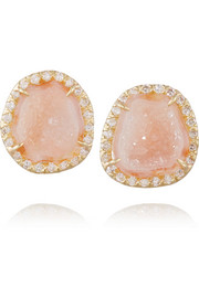 18-karat gold, diamond and geode earrings