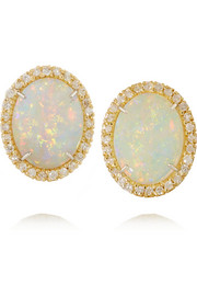 18-karat gold, diamond and opal earrings