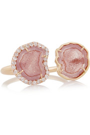 18-karat rose gold, geode and diamond ring