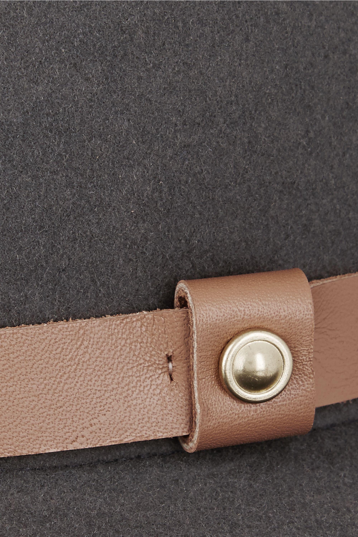 rag & bone Leather-trimmed wool-felt fedora
