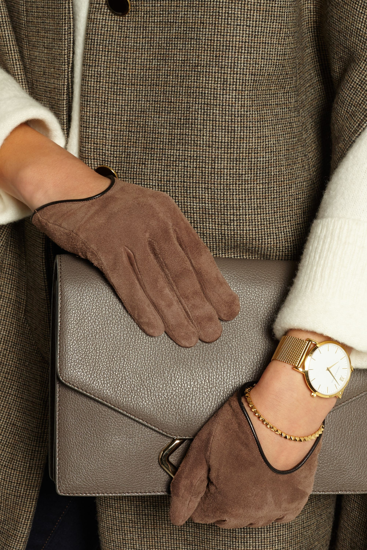 rag & bone Moto Handschuhe aus Veloursleder mit Lederbesatz