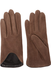 Moto leather-trimmed suede gloves