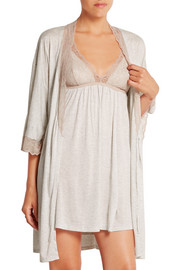 Georgette lace-trimmed jersey robe