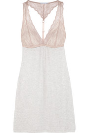 Georgette lace-paneled jersey chemise