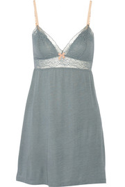 Michaela lace-trimmed jersey chemise