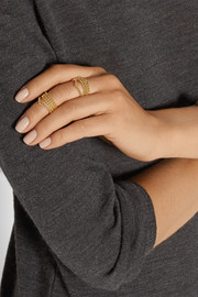 Set of eight gold-plated rings