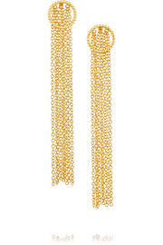 Fringed gold-plated earrings