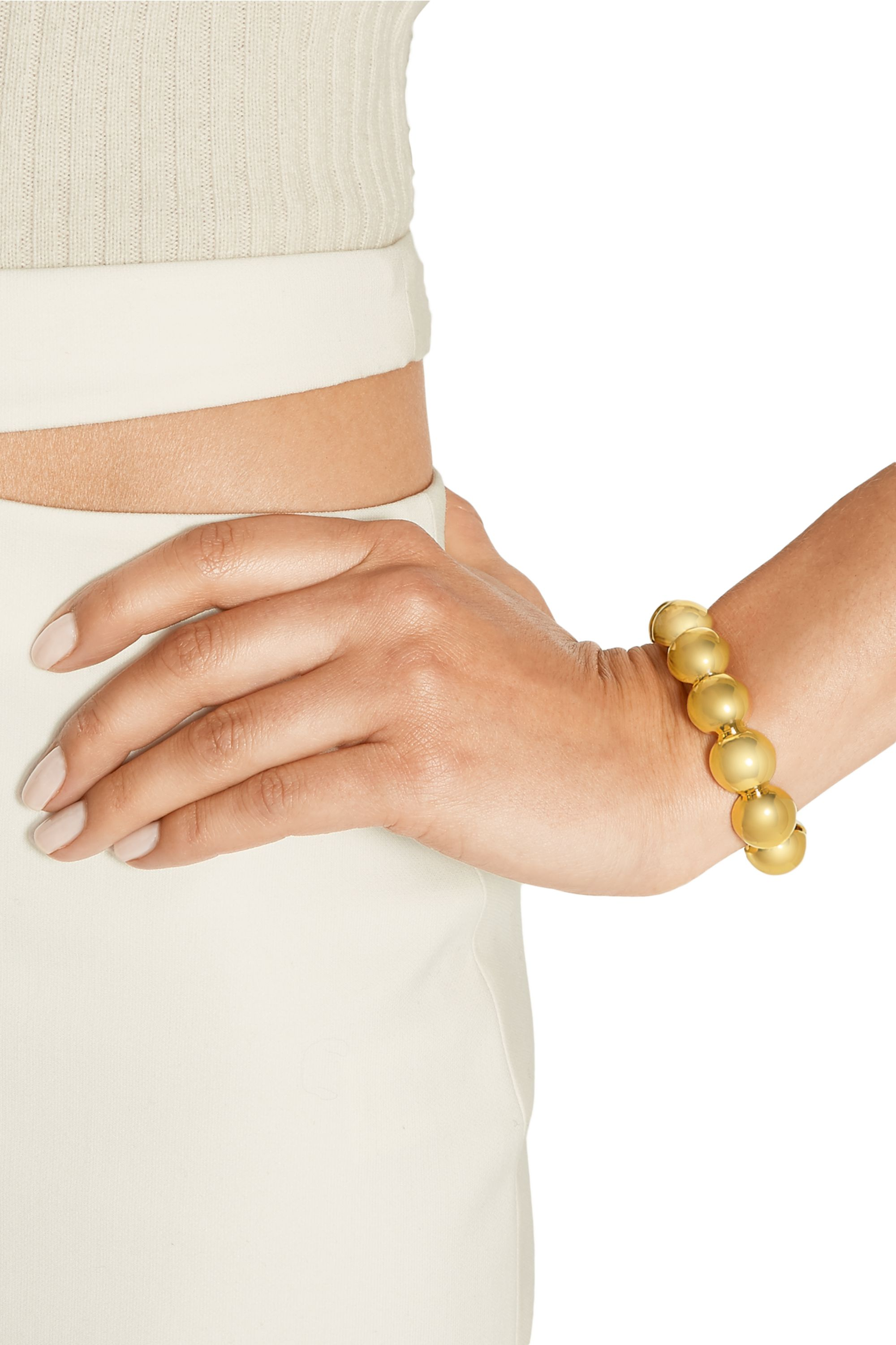 Arme De L'Amour Large Sphere gold-plated cuff
