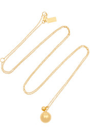 Double Drop Sphere gold-plated necklace