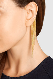 Fringed gold-plated ear cuff