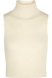 Natalie ribbed wool and cashmere-blend top