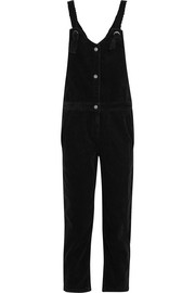 Cropped cotton-corduroy overalls