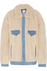 Denim-trimmed faux shearling jacket