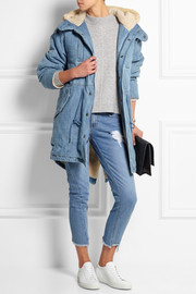 Hooded faux shearling-lined denim coat