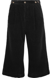 Cropped cotton-corduroy wide-leg pants