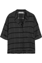 Lewis striped wool, cotton and silk-blend shirt