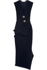 Victoria Beckham Draped stretch wool-blend midi dress