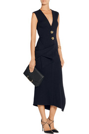 Draped stretch wool-blend midi dress
