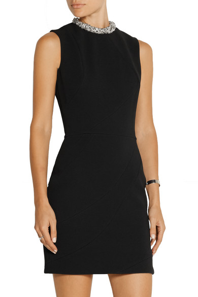 Particular Outlet Fashionable Crystal-embellished Crepe Mini Dress - Black Victoria Beckham Up To Date Get To Buy Cheap Price sYogOkQV