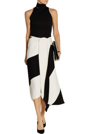 Asymmetric wrap-effect crepe skirt