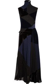 Victoria Beckham Patchwork corduroy, duchesse silk-satin and velvet dress