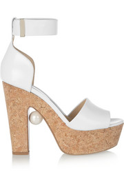 Nicholas Kirkwood Embellished leather and cork platform sandals