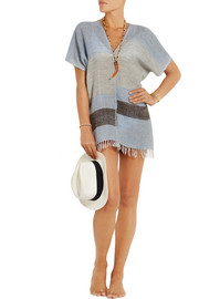Tebiki striped merino wool-blend poncho