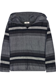 Debizaza striped cotton and wool-blend hooded top