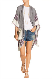 Aranya wool and cotton-blend poncho