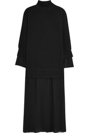 Stretch-cotton jersey and georgette maxi dress