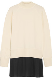 Stretch-cotton and georgette sweatshirt
