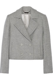 Cropped double-breasted wool-blend blazer