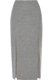 Split wool-blend midi skirt