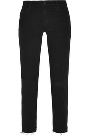 832 distressed mid-rise skinny jeans