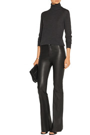 Vivia high-rise stretch-leather flared pants