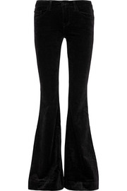 Bella stretch-velvet flared pants