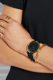 L�der suede and gold-plated watch