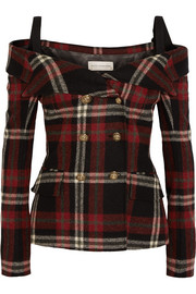 Off-the-shoulder tartan wool jacket