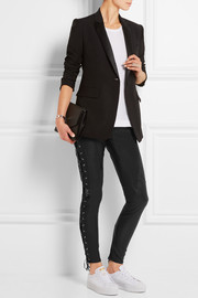 Lace-up leather skinny pants