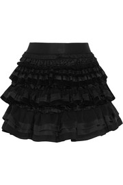 Ruffled lace, satin and corduroy mini skirt