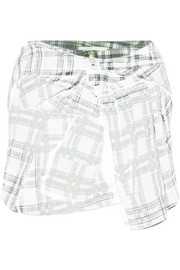 Plaid cotton-blend flannel mini skirt