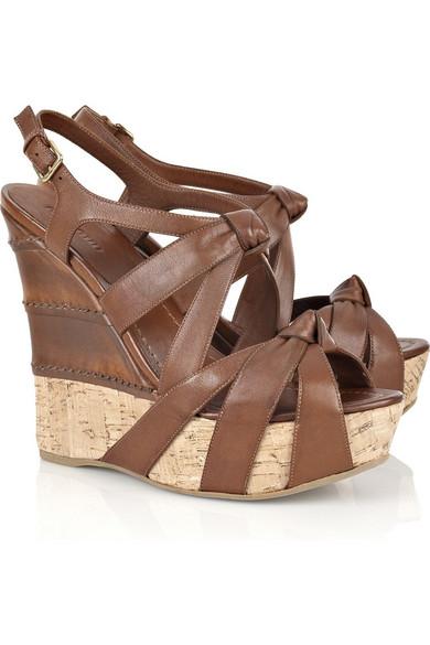 0a878a5401a4 Miu Miu. Cork and leather wedge sandals