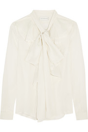 Ruffled pussy-bow silk crepe de chine blouse