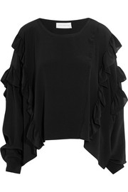 Ruffled silk crepe de chine top