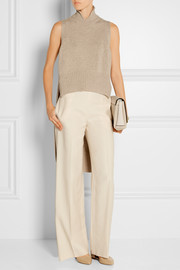Asymmetric wool and cashmere-blend turtleneck top
