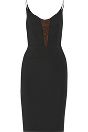Lace-paneled stretch-crepe dress
