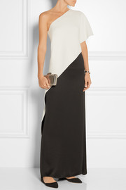 One-shoulder two-tone silk-crepe top